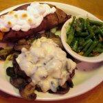 Road Kill Dinner chopped steak w/ mushrooms, onions & jack cheese. Loaded Sweet Potato & Green B