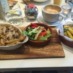 Chicken and mushroom penne with zucchini frites and a salad side. Tasty!!
