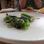 Smoked eel and watercress parfait