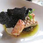 Panfried market fish, baby squid and walnut tarator (The squid ink flake was devine)