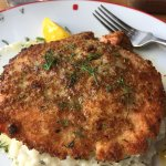 Panko crusted salmon over lemon dill risotto