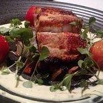 Harissa marinated Mahi-mahi, braised fennel, ratatouille, blistered heirloom tomatoes, saffron l