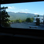 View of Black Tusk Mountain from inside the camper side window