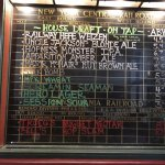 Brew list on old rail log chalkboard