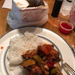 steamed white rice and Kung pao chicken