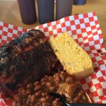 fantastic ribs, baked beans, and cornbread