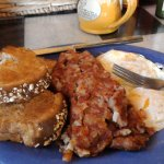 eggs with hash and whole wheat toast