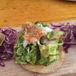 close up of the chicken tostadita