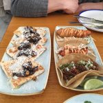 L: Huitlacoche Quesadilla.  R: Campechano, Grilled Fish, and Fried Fish Tacos, respectively.