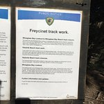 Notice regarding closure and track work on Wineglass Beach Track
