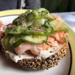 Wonderful bagel with local smoked salmon