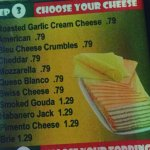 These are all of the cheeses you can add to your burger... omg!