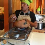 """Abel explains how to roast cacao beans in a clay pot—""""Don't burn your babies!"""""""