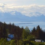 view of homer Spit as you descend into Homer AK