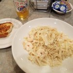 Shrimp Alfredo and Garlic Bread