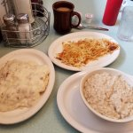 Biscuits & Gravy, Hash Browns, and Oatmeal