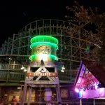 The Boardwalk Bullet wooden roller coaster at night!