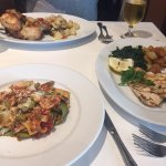 Good size portions- chicken breast, fish trio and arbiata pasta dishes- yum!