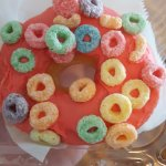 Donutsdatrock with strawberry icing and Froot Loops. YASSSS.