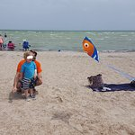 Getting their kite on. (See? Plenty of room around us.)
