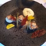 Scallop starter with bacon and apple