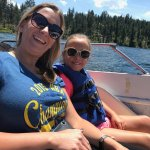 Wife and daughter enjoying 60 mph boat ride on Tahoe Thunder.