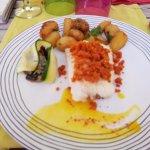 filet poisson crumble chorizo (très très bon)