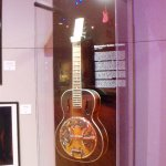 Guitar on in display case