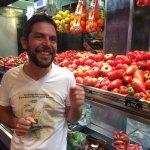 Chef Yves at Boqueria explaining variety of tomatos