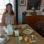 Enjoying a cream tea at Whiddons Bistro