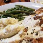 Trout, green beans, and creamy grita