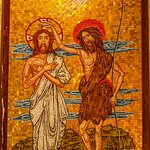 Mosaic of Jesus being baptized by John.