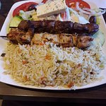 Souvlaki plate (with pork and chicken) with rice and marathon salad. Yummy!