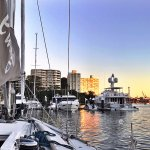 Sunrise viewed from on deck, Rushcutters Bay, Sydney Harbour