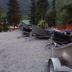 Drift boats awaiting departure