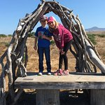 Grandkids enjoying bench on Fiscalini Ranch