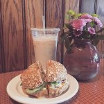 Delicious chai latte and a bagel sandwich from summer 2016