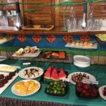 breakfast buffet with a variety of local foods