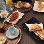Hot Ham Sandwich, Greek coffee, chocolate croissant