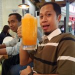 With my large drink