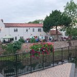 The White Hart Inn on Bike night 07/07/2017. Open air band to the left and barbecue to the right