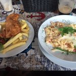 Best Fish and Chips ever-- and Lobster Tagliatelle with TONS of lobster