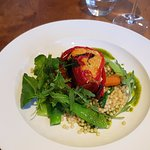 Red pepper roulade with giant cous cous
