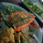 Lobster tail, mashed plantains, and salad with okra...
