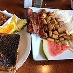 Breakfast with burnt toast