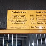 The sign at the parkade.