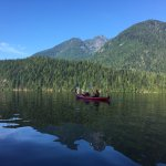 Paddling from Granite Falls to Twin Islands early in the morning when the water is calm