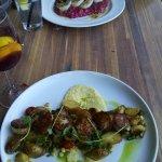 KAREN ELIZABETH PAN SEARED SCALLOPS asparagus, grape tomato, pearl onion, fingerling potato, bac