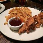Chicken tender platter and prime rib sandwich