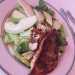 Pear blackened salmon salad
